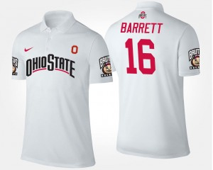 White J.T. Barrett Ohio State Buckeyes Polo For Men's #16 Name and Number