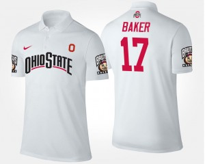 Men Name and Number Jerome Baker Ohio State Polo White #17