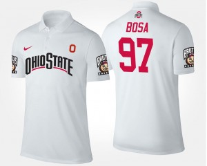 For Men's White Joey Bosa Ohio State Polo #97 Name and Number