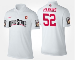 Name and Number Johnathan Hankins Ohio State Buckeyes Polo #52 Men's White