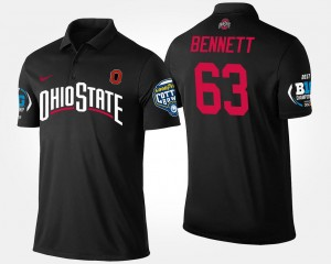 Men Big Ten Conference Cotton Bowl Name and Number #63 Black Michael Bennett OSU Buckeyes Polo Bowl Game
