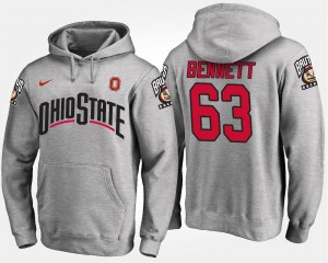 Mens Gray Michael Bennett Ohio State Hoodie #63 Name and Number