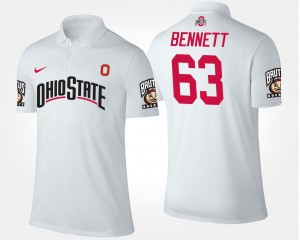 Men #63 Michael Bennett OSU Buckeyes Polo White Name and Number