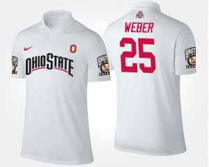 #25 White Mike Weber OSU Buckeyes Polo Name and Number Mens