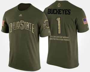 Camo No.1 Short Sleeve With Message Men Ohio State Buckeyes T-Shirt #1 Military