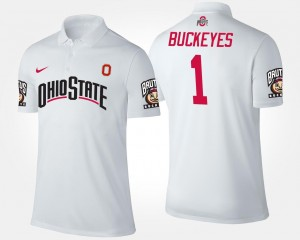 Name and Number OSU Buckeyes Polo For Men #1 No.1 Short Sleeve White