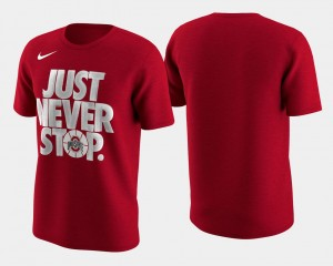 Scarlet Ohio State Buckeyes T-Shirt Mens Basketball Tournament Just Never Stop March Madness Selection Sunday