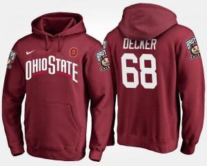 Name and Number Men #68 Scarlet Taylor Decker Ohio State Hoodie