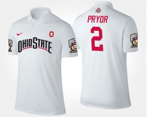 #2 Terrelle Pryor Ohio State Polo For Men Name and Number White