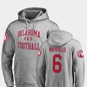 Neutral Zone Fanatics Branded College Football Mens #6 Baker Mayfield OU Sooners Hoodie Ash