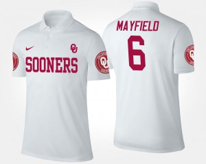 Name and Number White Baker Mayfield Sooners Polo #6 For Men's