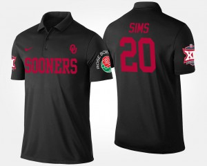 Big 12 Conference Rose Bowl Name and Number Billy Sims Oklahoma Polo #20 Men Bowl Game Black