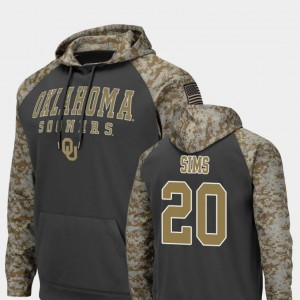 Billy Sims Sooners Hoodie Colosseum Football Charcoal United We Stand #20 Men's