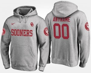 Name and Number #00 Gray Men's Oklahoma Sooners Customized Hoodie
