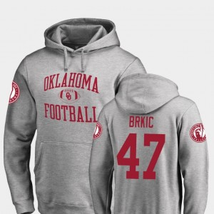 For Men's Gabe Brkic OU Sooners Hoodie Fanatics Branded College Football #47 Neutral Zone Ash
