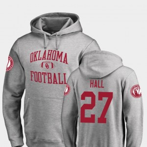 Neutral Zone For Men's #27 Jeremiah Hall OU Sooners Hoodie Ash Fanatics Branded College Football