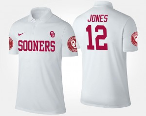 White #12 Landry Jones OU Polo Name and Number Mens