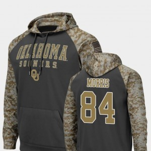For Men's United We Stand #84 Lee Morris OU Sooners Hoodie Charcoal Colosseum Football