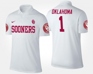 For Men's White #1 No.1 Short Sleeve Oklahoma Polo Name and Number