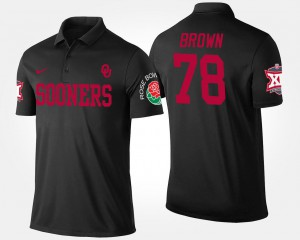 Big 12 Conference Rose Bowl Name and Number Bowl Game Orlando Brown OU Polo #78 Black Men's