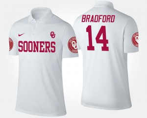 White #14 For Men Sam Bradford OU Sooners Polo Name and Number