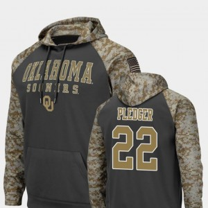 #22 For Men's Colosseum Football Charcoal United We Stand T.J. Pledger Sooners Hoodie