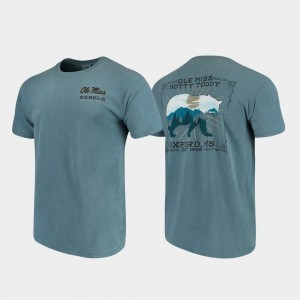 For Men Ole Miss T-Shirt Blue Comfort Colors State Scenery