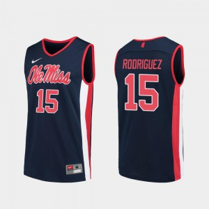 For Men's #15 College Basketball Luis Rodriguez Ole Miss Rebels Jersey Navy Replica
