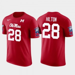 #28 Mens Mike Hilton Ole Miss Rebels T-Shirt Future Stars Pittsburgh Steelers Football Red