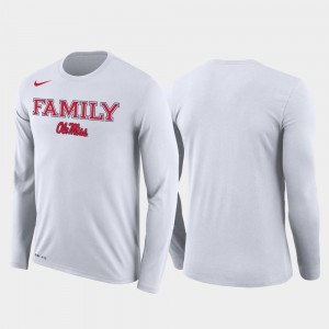Mens March Madness Basketball Performance Long Sleeve Ole Miss T-Shirt Family on Court White