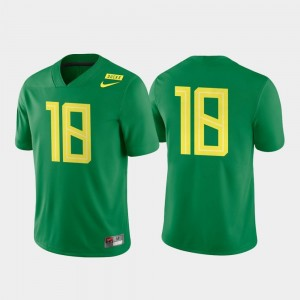Game Authentic Oregon Jersey #18 Apple Green College Football For Men