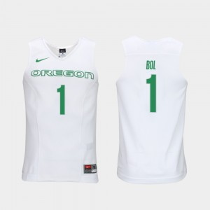 #1 Bol Bol Ducks Jersey Men's Elite Authentic Performance College Basketball White Authentic Performace