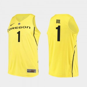 Authentic Yellow Bol Bol Ducks Jersey #1 For Men College Basketball
