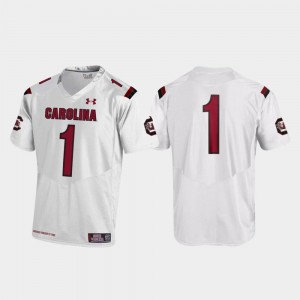 Replica #1 Mens White College Football Under Armour Gamecocks Jersey