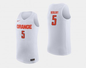 College Basketball White For Men's Patrick Herlihy Syracuse University Jersey #5