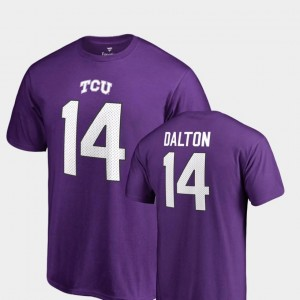 Name & Number Andy Dalton TCU Horned Frogs T-Shirt Purple #14 College Legends For Men