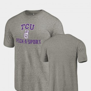 Horned Frogs T-Shirt Gray Mens Tri Blend Distressed Pick-A-Sport