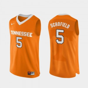 College Basketball Orange For Men #5 Admiral Schofield Vols Jersey Authentic Performace
