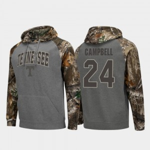 For Men Charcoal #24 Realtree Camo Lucas Campbell Tennessee Vols Hoodie Colosseum Raglan