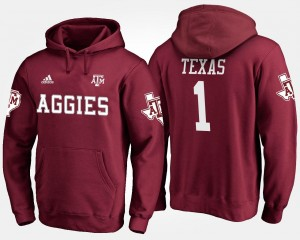 #1 Name and Number For Men Maroon No.1 Texas A&M Hoodie