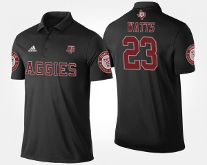 Mens Black #23 Armani Watts Texas A&M Polo Name and Number
