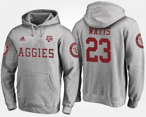 Name and Number For Men Armani Watts Aggies Hoodie Gray #23