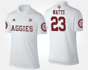 Armani Watts Texas A&M Aggies Polo #23 White For Men's Name and Number