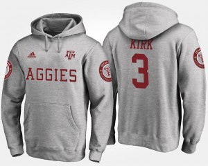 Name and Number Gray Mens #3 Christian Kirk Texas A&M Aggies Hoodie