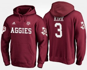 #3 Mens Maroon Name and Number Christian Kirk Texas A&M Aggies Hoodie