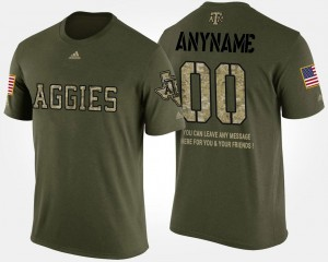 Short Sleeve With Message Military Men #00 Camo Texas A&M Aggies Customized T-Shirt