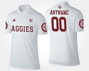 Name and Number White #00 Aggies Custom Polo For Men's