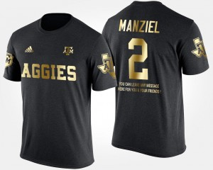Black #2 Short Sleeve With Message Men's Johnny Manziel Aggies T-Shirt Gold Limited