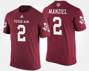 Johnny Manziel Aggies T-Shirt #2 For Men's Maroon Name and Number