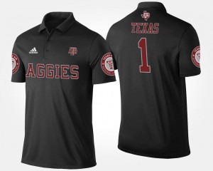 Texas A&M University Polo Name and Number Black #1 For Men No.1 Short Sleeve